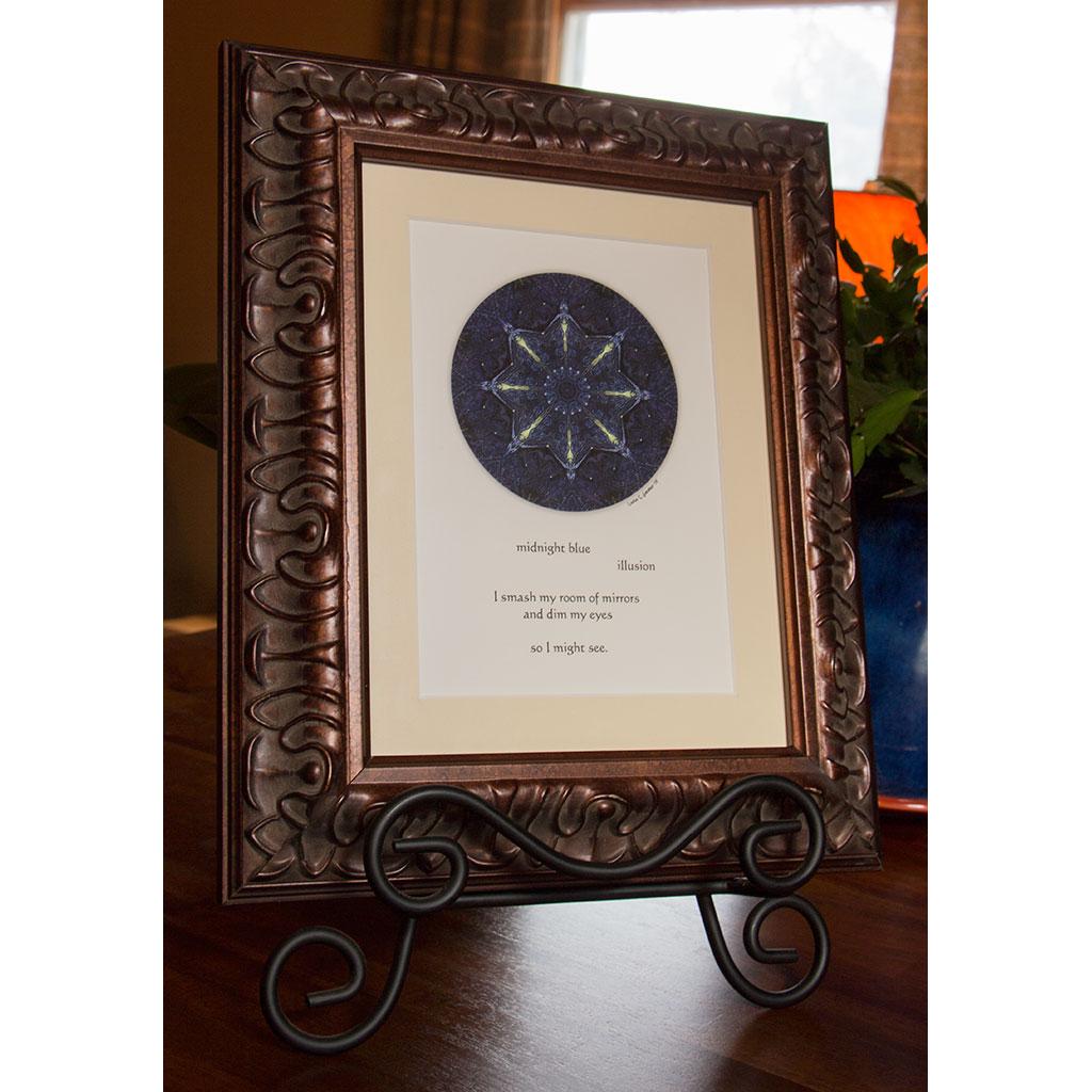 Indigo Illusion Framed Mandala Print